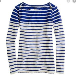J Crew Painter boatneck tee top stripe blue Sz. XS